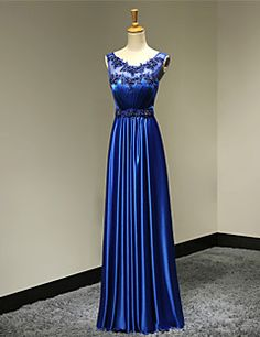 A-Line Scoop Neck Floor Length Satin Formal Evening Military Ball Company Party Wedding Party Dress with Beading – USD $ 235.00