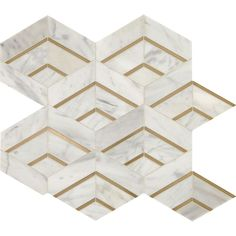 Buy the Daltile Alluring White / Brass Direct. Shop for the Daltile Alluring White / Brass Lavaliere - x Sheet Varied Deco Mosaic Wall Tile - Matte Marble Visual - Sold by Sheet and save. White Tile Backsplash, Mosaic Wall Tiles, Marble Mosaic, Kitchen Backsplash, Backsplash Ideas, Stone Mosaic, Tile Ideas, Chevron Tile, Thing 1