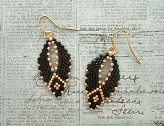 Russian Leaf Earrings - Black & Gold