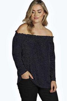 Plus Emma Shimmer Shirred Off The Shoulder Top
