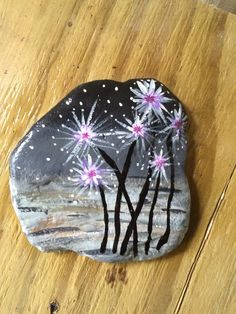 Flowers on rock.