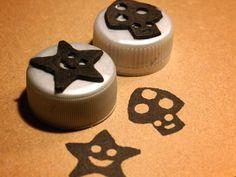 Como hacer sellos con gama eva (gomaespuma) y tapas de botellas