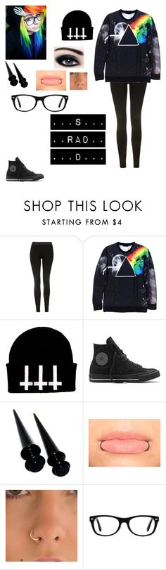 """""""...😶..."""" by your-average-psycho ❤ liked on Polyvore featuring Topshop, Converse and Ray-Ban"""