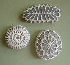 I'm not sure what one would use a crocheted lace stone for...but they sure are pretty.