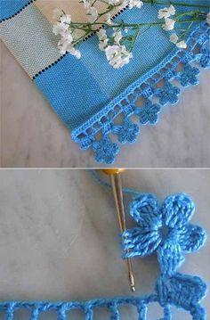 How To Make Lovely Lace Crochet Motif Crochet Boarders, Crochet Edging Patterns, Crochet Lace Edging, Cotton Crochet, Crocheted Lace, Crochet Doily Rug, Crochet Flowers, Free Crochet, Crochet Edgings