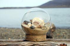 Natural Seashell & Sand Glass Beach Globe.