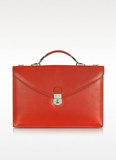 L.A.P.A. Ruby Red Double Gusset Leather Briefcase  740.00 Actual  transaction amount ba9324c9460e3