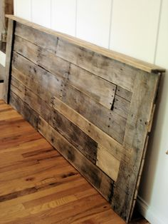 Pallet Headboard- I'm totally getting pallets from work and making this. I heard if you rub some steel wool soaked in vinegar on the pallets it will bring out the colors in the wood.