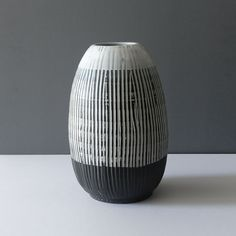 Very Large Sgraffito Black White Vase: If you need a contemporary statement piece this is it. It stands 13 inches tall and is inches wide. Black And White Vase, White Vases, Sgraffito, Ceramic Decor, Earthenware, Centerpieces, Pottery, Contemporary, Design