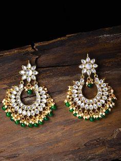 Kundan & Green Beads Chandbali Earring