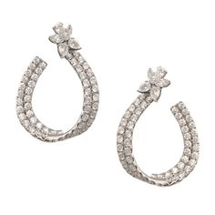 Diamond Gold Hoop Earrings | From a unique collection of vintage drop earrings at https://www.1stdibs.com/jewelry/earrings/drop-earrings/