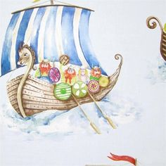 Voyage have this exciting Viking Armada fabric, which gives a slightly different angle to the seaside theme. Flower Curtain, Curtain Fabric, Orla Kiely Fabric, Childrens Curtains, Viking Baby, Seaside Theme, Crafts Beautiful, Bedroom Themes, Mid Century Design
