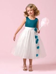 Alfred Angelo flower girl dress in 'tealness'  I like this dress but a lighter blue for my flower girl who will be my niece Ava for sure!