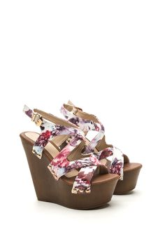 Contact High Faux Leather Wedges RED