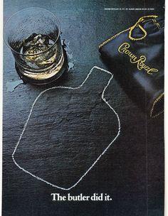 Original Print Ad 1980 Seagram's Crown Royal The Butler Did It Chalk Outline | eBay