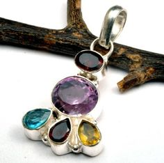 Amethyst and multiple gemstone necklace pendant   by CoyoteRainbow, $18.00