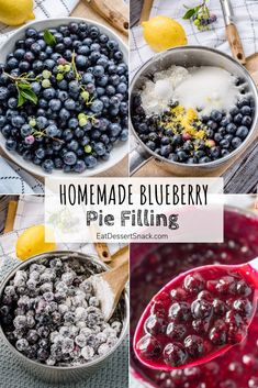 A Homemade Blueberry Pie Filling recipe for fresh or frozen blueberries. Great for ice cream or cheesecake toppings, pancakes and waffles, or of course, pie! Blueberry Jello Salad, Fresh Blueberry Pie, Homemade Blueberry Pie, Blueberry Pie Recipes, Blueberry Desserts, Homemade Pie, Homemade Breads, Best Blueberry Pie Filling Recipe, Blueberry Pie With Frozen Blueberries Recipe