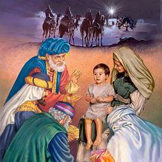 Astrólogos que foram guiados até Belém por uma estrela entregam presentes para Maria e Jesus