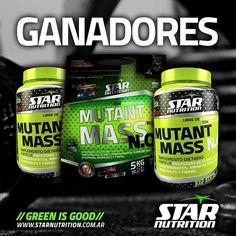 Mutant Mass N.O. #StarNutrition 1,5kg $350 / 5kg $750 Los GAINER (ganadores de masa) son una mezcla especial de carbohidratos y proteínas de rápida absorción que, al ser ingerida tras entrenar, influye efectivamente en la restauración y crecimiento muscular. Los carbohidratos son el segundo elemento más importante para que los deportistas DELGADOS aumenten su masa muscular. Para entrenar, el organismo necesita de 150-200gr de glucógeno proveniente de carbohidratos.