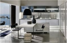Contemporary Italian Kitchen Designs from Arclinea, Cool Solution for Common Kitchen Shortfalls. Modern Clean White Arclinea Kitchen Design with Center Island and Integrated Dining Table Set Modern Kitchen Tables, Modern Kitchen Island, Stylish Kitchen, White Kitchen Cabinets, Old Kitchen, Kitchen White, Kitchen Dining, Functional Kitchen, Red Cabinets