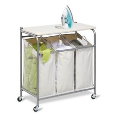 full size iron board with laundry storage | Honey-Can-Do International - Ironing and Sorter Combo Laundry Centre ...