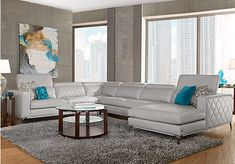 picture of Sofia Vergara Sorrento Platinum 4 Pc Sectional  from Living Room Sets Furniture