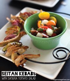 Seitan Kebabs with Sangria Tomato Salad from The Lusty Vegan by Ayinde Howell and Zoe Eisenberg