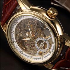 ac2fff1667a3 Relojes de pulsera de lujo esqueleto dorado mecánico Steampunk hombre reloj  de pulsera automático correa de cuero