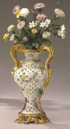 Meissen porcelain potpourri pierced baluster-form vases, circa 1750