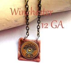 Winchester 12 ga shotgun shell  necklace cowgirl bullet  cowgirl art jewelry