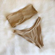 Nude bandeau & high hip bikini bottoms.