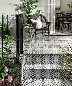 Discover stunning floor tiles, suitable for use in all outdoor areas of your home. Bring your dream outdoor flooring to life, using our high-quality tiles. Porch Tile, Patio Tiles, Outdoor Tiles, Outdoor Flooring, Outdoor Paving, Outdoor Patterned Tiles, Cement Tiles, Concrete Patio, Flooring Ideas