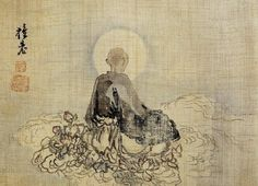 Kim Hong-do, Yeombulseoseung, Old Buddhist Monk Praying to Buddha(염불서승), Ink and color on silk; 20.8x28.7cm; Gansong Art Museum