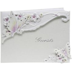 BRIDAL - Butterfly Themed Wedding Guest Book - White / Lilac: Amazon.co.uk