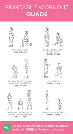 Gym Workout Plan For Women, Gym Workout For Beginners, Fitness Workout For Women, Quad Workouts At Home, Easy Workouts, Calf Exercises, Strength Training Workouts, Weight Lifting Workouts, Printable Workouts