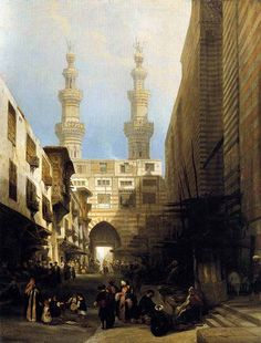EL GHOREE AL GHURI MOSQUE CAIRO EGYPT PAINTING ART REAL CANVAS PRINT