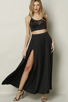 Black Sleeveless Hollow Slit Details Dress SuitDress  from mobile - US$29.95 -YOINS