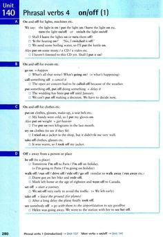 Phrasal verbs 4 - on/off English Units, English Vinglish, English Verbs, English Phrases, English Study, English Lessons, Teaching Grammar, Grammar And Vocabulary, Grammar Lessons