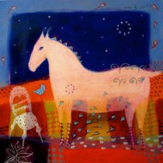 White horse -Circle of Stars - limited edition giclee on canvas - horse art/whimsical/childrens art