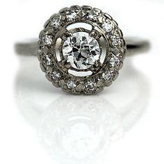 Vintage Engagement Ring 1950s Art Deco Filigree by ArtDecoDiamonds