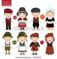 Kids in different traditional costumes (Wales, Netherlands, Germany, Scotland)