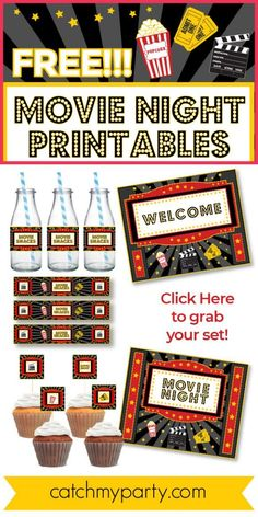 If you are planning a movie night party at home, then these FREE movie night printables are just what you need to create some movie theater magic! The set includes a poster, some water bottle labels, and cupcake toppers. See more party ideas and share yours at CatchMyParty.com #catchmyparty #partyideas #movienight #movienightparty #freemovienightprintables