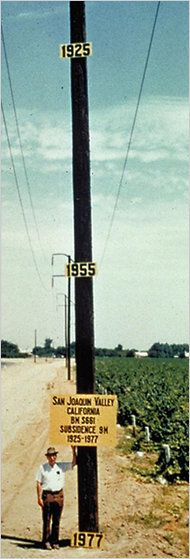 """""""Hard pumping of the groundwater located outside such channels over the last 60 years has caused land in the San Joaquin Valley to drop more than 25 feet.""""     More info: http://www.aegweb.org/i4a/pages/index.cfm?pageid=4076"""