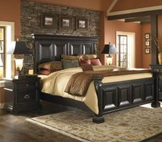 I like the idea of the wall indention behind this King Panel Bed.