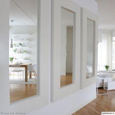 valkoinen,skandinaavinen modernismi (50-60 luku),valoisa,peilit,vaalea sisustus