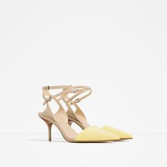 Image 2 of MEDIUM HEEL LEATHER SHOES WITH DOUBLE ANKLE STRAP from Zara