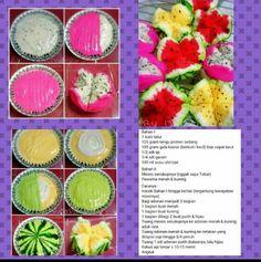 Bolu kukus Semangka Indonesian Desserts, Indonesian Food, Indian Pickle Recipe, Bolu Cake, Resep Cake, Asian Cake, Cake Recipes, Dessert Recipes, Steam Recipes