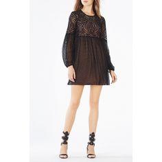 BCBGMAXAZRIA Kitra Lace Peasant Dress ($338) ❤ liked on Polyvore featuring dresses, black, keyhole dress, bcbgmaxazria dress, long dresses, long empire waist dress and long peasant dress