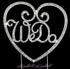 We DO Crystal  custom monogram rhinestone bling Bride wedding cake topper New #LulusparklesLLC
