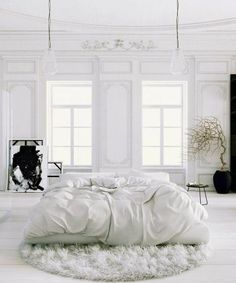 White Bedroom Interior Design Ideas & Pictures Parisian Apartment soft white bedroom with black accents and potted tree rugParisian Apartment soft white bedroom with black accents and potted tree rug White Bedroom Design, All White Bedroom, White Rooms, Dream Bedroom, Home Bedroom, White Walls, Bedroom Decor, Bedroom Ideas, Bedroom Designs
